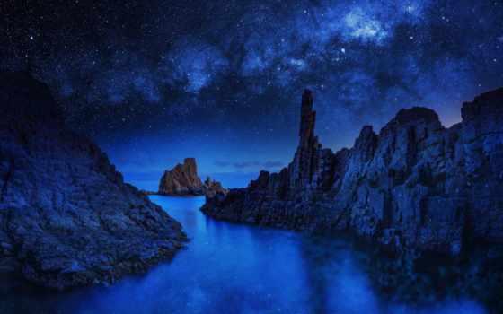 ocean, iphone, ночь, скалы, звезды, море, blue,