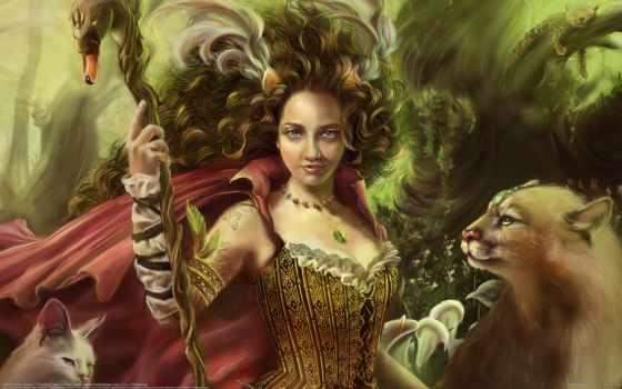 fantasy, кошки, девушка, art, посох, хищники, тату, перья,