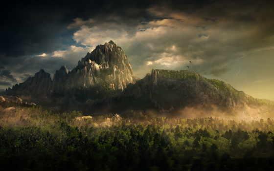лес, горы, гора, природа, dracula, art,