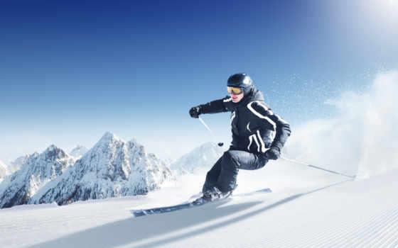 лыжи, снег
