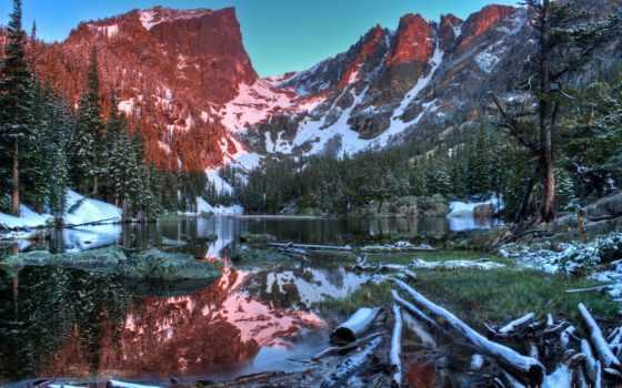 озеро, гора, mountains, природа, снег, landscape, dream, trees, park,