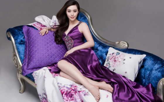 платье, brunette, фиолетовом, девушка, дар, платья, тебе, диван,