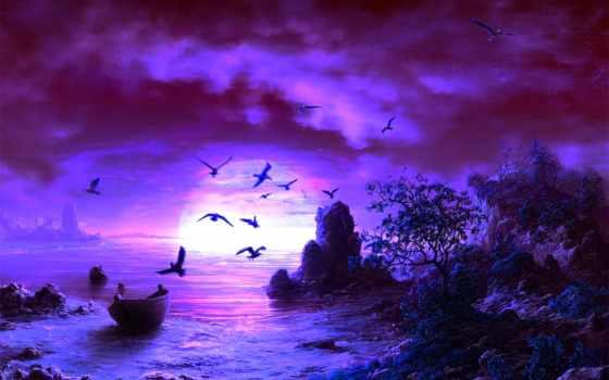 море, art, берег, рисунок, лодка, seagulls, птицы, чайки,