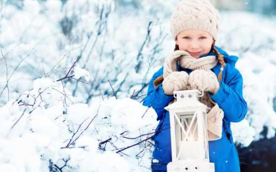 winter, снег, ребенок, lantern, девушка, перчатки, шапка, шубка,