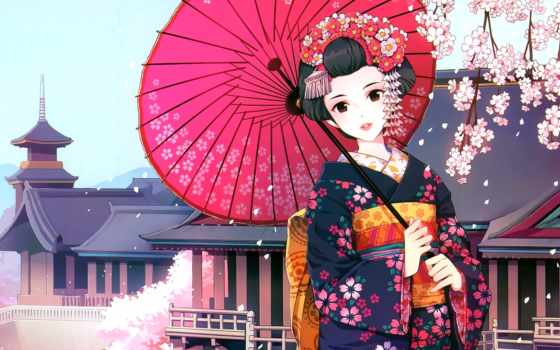 гейша, кимоно, японская, под, сидит, весна, рисунки, fone, руках, разных,
