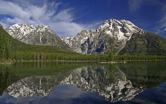 mount, moran, teton, grand, гора, wyoming, озеро, отражение,