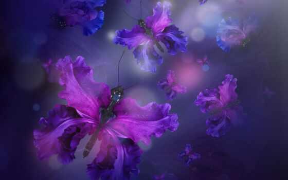 бабочка, цветы, art, множество, abstract, design, name, фея, iris