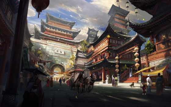 пейзаж, азия, храм, повозка, арт, дома, город, люди, арка, девушка, una, ciudad, dibujo, кони, птицы, река, которая,