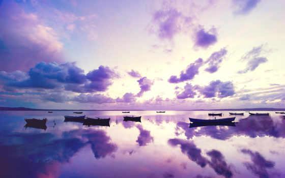 purple, лодки, закат