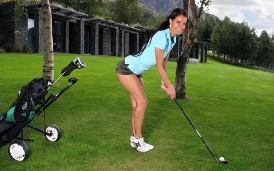 клюшкой, she, руке, mport, девушка, погода, гольфа, мужчину, ударила, likeni,