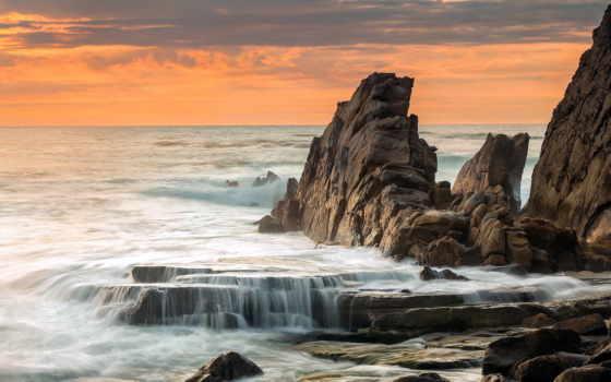 rocks, море, природа, landscape, закат, побережье,