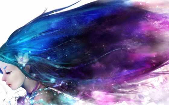 волосы, девушка, anime, характер, purple, краска, art, рисованный, black, категория, женский