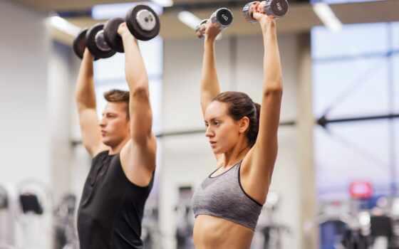 пара, gym, workout, фитнес, dumbbell, группа, спорт, женщина