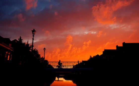 закат, город, мост