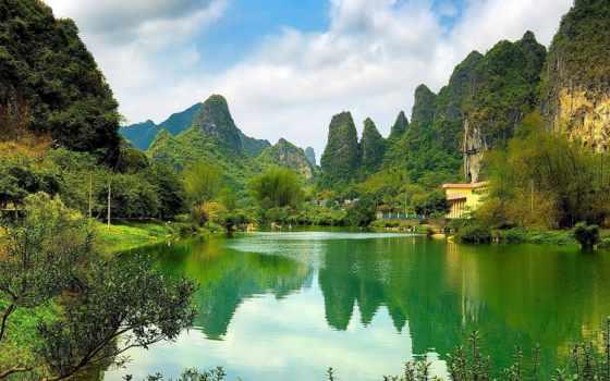 tapety, wiosna, pulpit, природа, взгляд, озеро, krajobraz, pin,