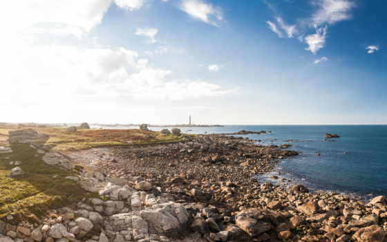 ocean, утро, берег, lighthouse, свет, камни, солнечный, french, небо, море,