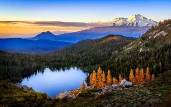 озеро, shasta, castle, mt, сердце, природа, рассвет, горы, лес,