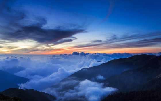 китаянка, горы, небо, taiwan, trees, oblaka, холмы, озеро, park, national, закат,