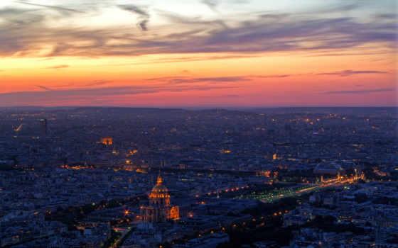 париж, рассвете, рассвет, города, телефон, небо, город, огни, вечернего,