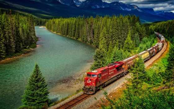 поезд, iron, канада, дорога, гора, landscape, лес, река, планшетный