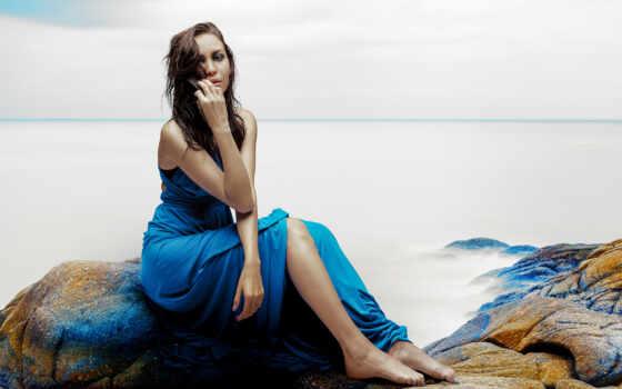 девушка, платье, blue, море, природа, starve, камень, sit