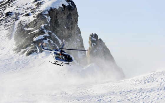 eurocopter, вертолет, снег, рисунки, авиация,