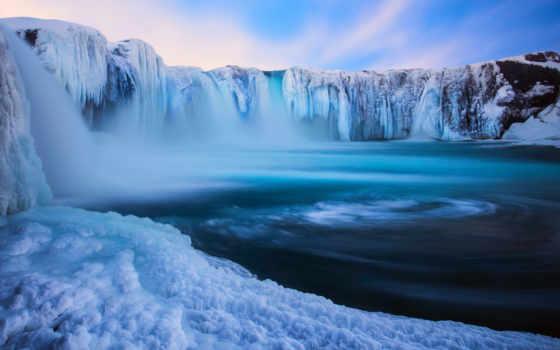 godafoss, исландия, водопад, природа, лед, картинка, картинку, зима,