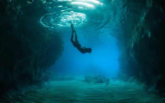 mir, океан, подводный, человек, скалы, дно,