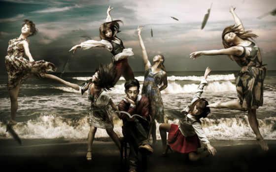 красивые, dancing, devushki, dance, море, креативные, парень, книга,