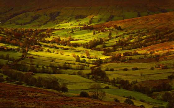 великобритания, йоркширский, margin, свет, дома, небо,