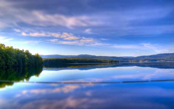 serenity, oblaka, легкость, небо, reservoir, trees, отражение, леса, summer,
