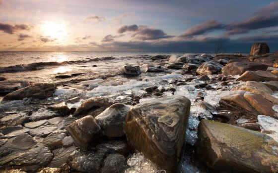 ocean, берег, rocks, море, waves, природа, clouds, закат, восход, seascapes,