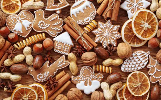 cookie, новогоднее, палочки, корицы, фигурки, выпечка, столе, близко, орехи,