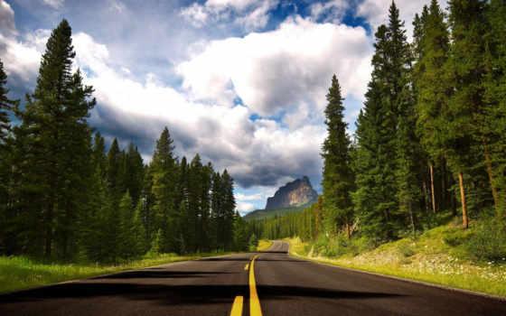 road, forest, clouds, кнопкой, левой, кликните, путь, высокой, горе, roads, streets, nature,