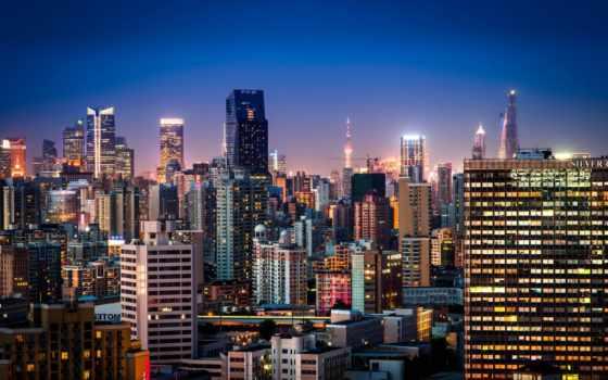 город, ночь, заставки, daily, shanghai, china,
