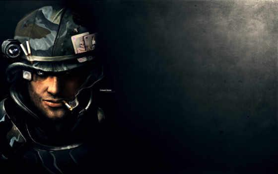 солдат, сигарета