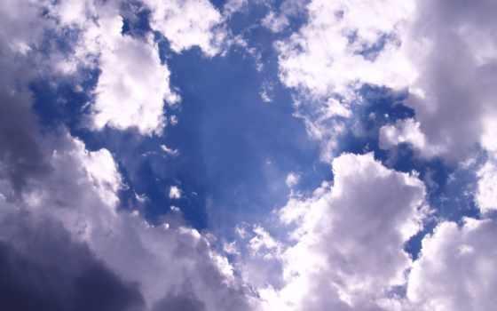 облака, белые, небо