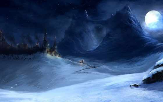 горы, ночь, снег