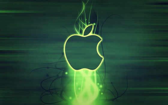 apple с зелёной абстракцией