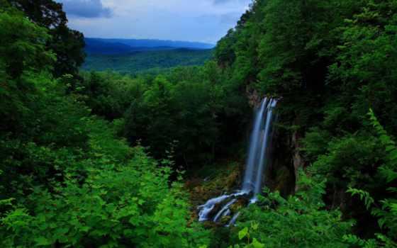 blue, гряда, waterfalls, mountains, north, гора, georgia,