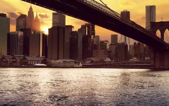 мост, бруклин, нью, new, york, сша,