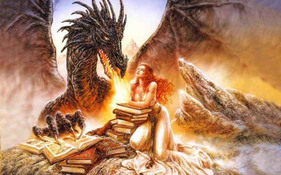 девушка, fantasy, дракон, дракона, драконом, фэнтези, драконы,