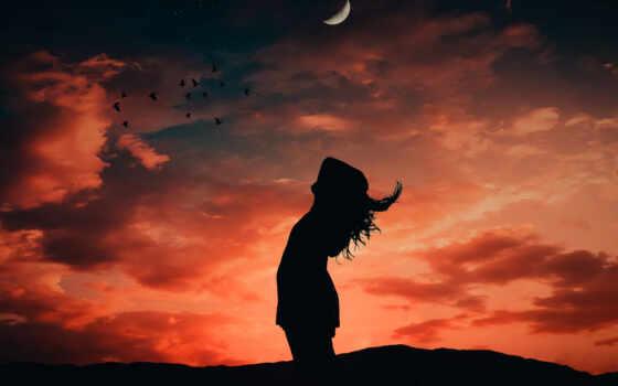 девушка, лунно, фон, день, силуэт, небо