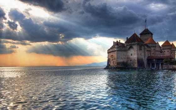 замок, chillon, море, замки, моря,