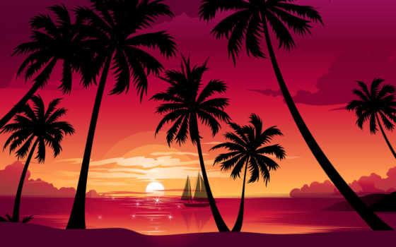 пальмы, море, закат, sun, пляж, кораблик, природа,