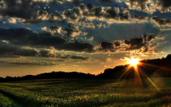 закат, поле, небо Фон № 110081 разрешение 1920x1080