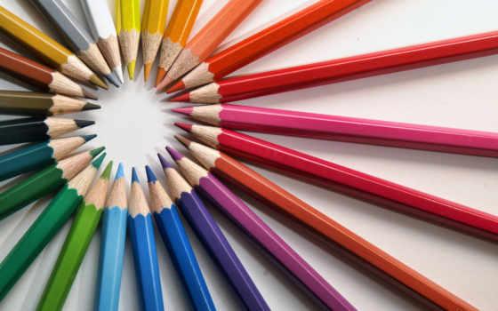 карандаши, радуга, краски