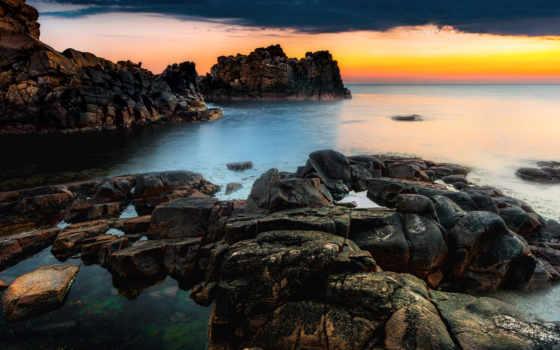 море, sweden, закат, пляж, скалы, побережье, небо, stockholm, берег,