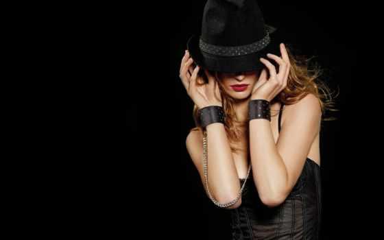 девушка, шляпа, гламур, black, картинка, дерево, гламурные,
