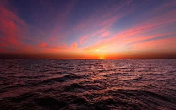 закат, морем, со, небо, солнца, природа, морские, water, просторы, full,